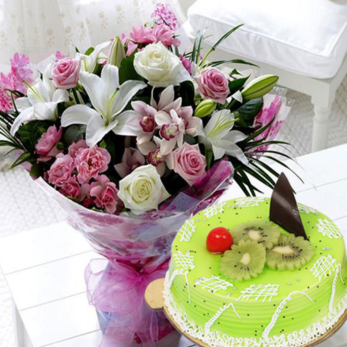 Order Online Kiwi Cake N Mixed Flowers Bouquet