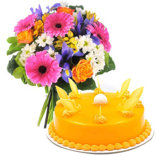 Send Mixed Flowers Bouquet N Mango Cake Online