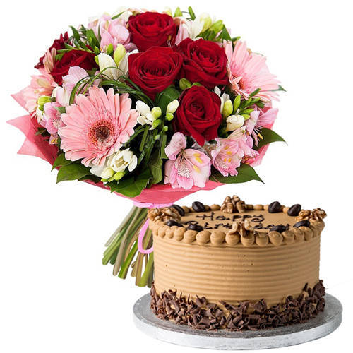 Online Order Mixed Flowers Bouquet with Coffee Cake