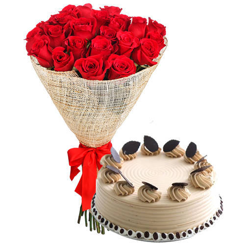 Shop Red Roses Arrangement N Coffee Cake Online