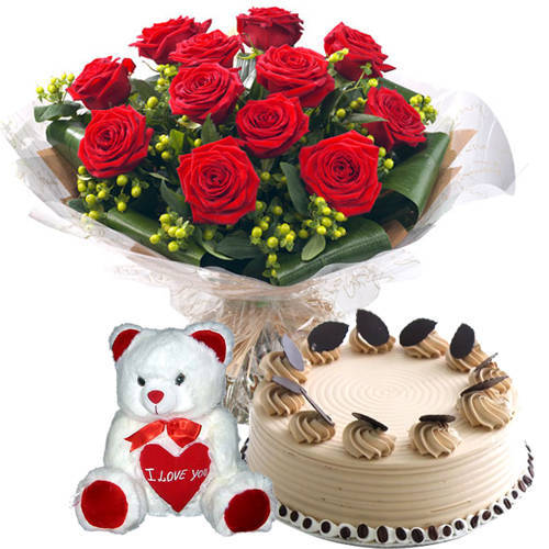 Book Red Roses Bouquet with Coffee Cake N Teddy Online