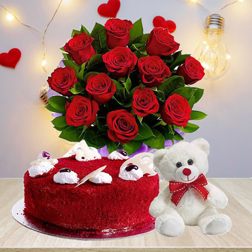 Order Red Velvet Cake with Red Roses Bouquet N Teddy Online