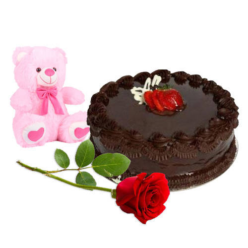 Send Online Chocolate Cake with Teddy N Red Rose