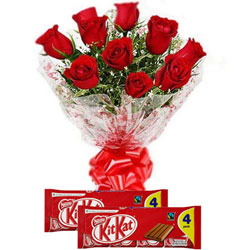 Online Basket of Red Roses with Black Forest Cake