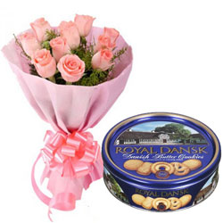Striking Pink Roses Bouquet with Danish Cookies Box