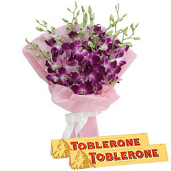 Magnificent Bouquet of Orchid with Toblerone Chocolate Bar