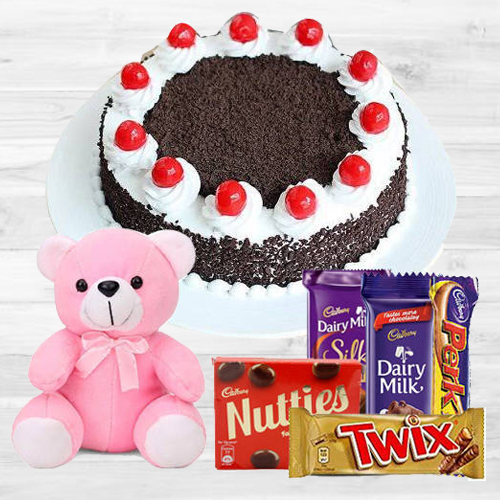 Gift Online Black Forest Cake with Assorted Cadbury N Teddy