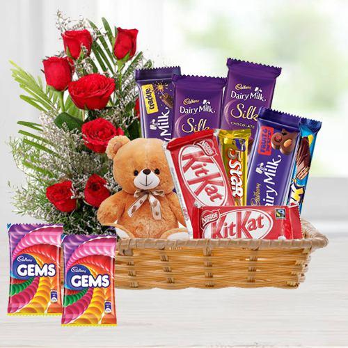 Creative Bouquet of Carnations with Teddy N Ferrero Rocher