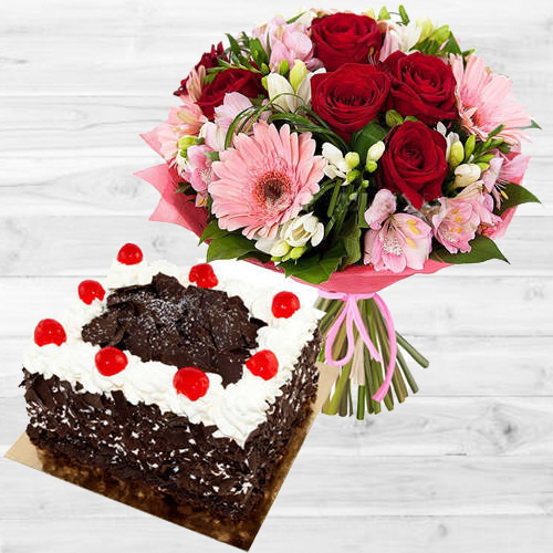 Stunning Multi-Colored Flowers Bouquet with 1 Lb Black Forest Cake