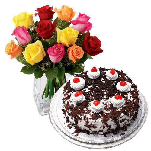 Shop Mixed Roses N Black Forest Cake Online from Taj or 5 Star Bakery