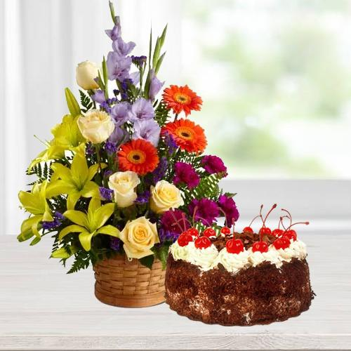 Send Online Seasonal Flowers with Black Forest Cake