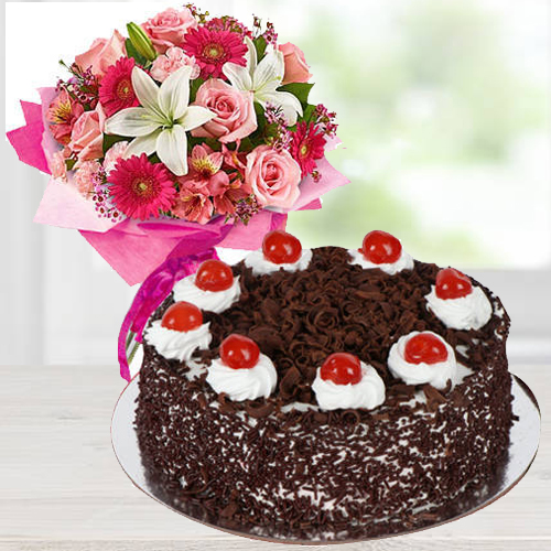 Book Mixed Flowers Arrangement N Black Forest Cake Online