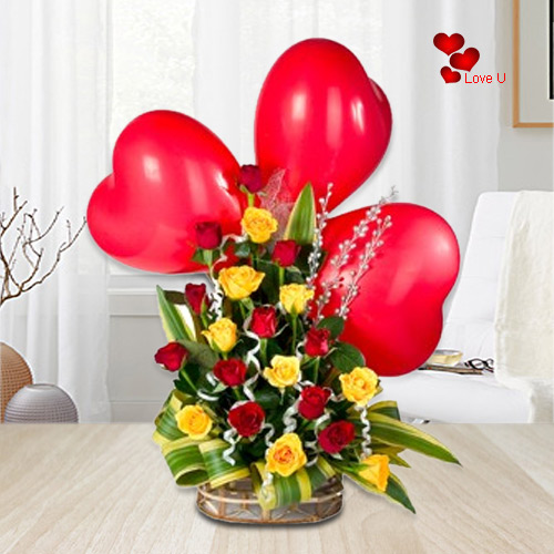 V-Day Delight Mixed Roses Basket with Balloons