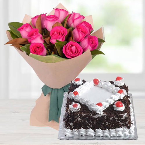 Classic 12 Pink Roses Bunch with 1/2 Kg Black Forest Cake