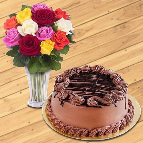 Order Online Mixed Roses in a Glass Vase with Chocolate Cake