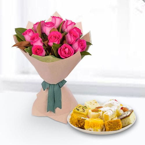 Gorgeous 24 Mixed Roses with 1 Kg Black Forest Cake from Taj or 5 Star Bakery