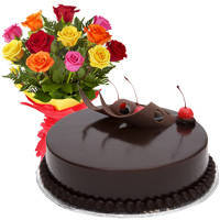 Beautiful Love Surprises 12 Mixed Roses Bunch with Chocolate Cake