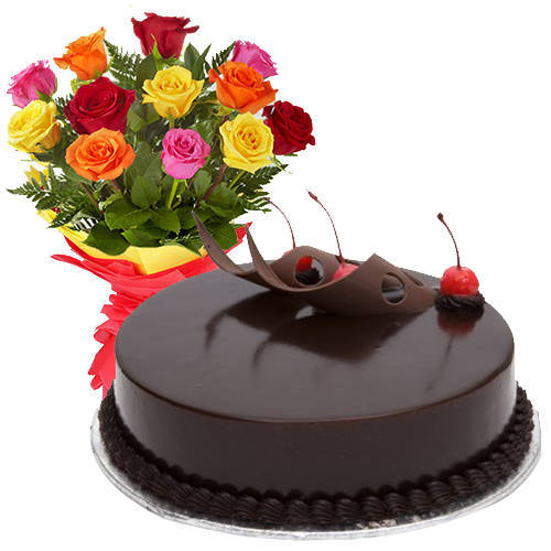 Gift Online Mixed Roses with Chocolate Cake
