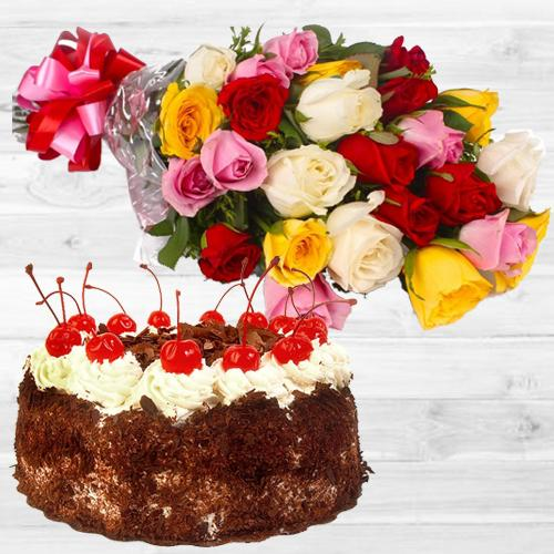 Order Bunch of Mixed Roses N Black Forest Cake Online