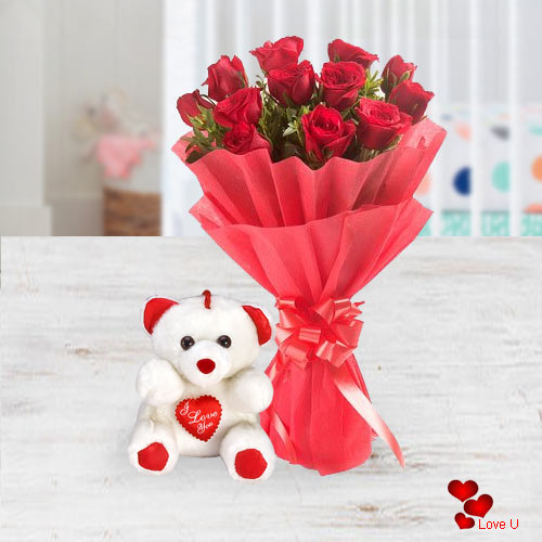 V-Day Gift of Red Roses Bouquet with Teddy