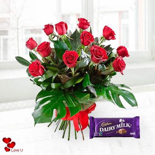 Rose Day Gift of Red Roses N Cadbury Chocolates