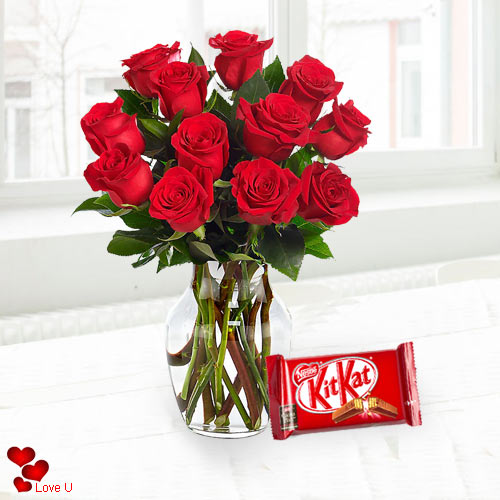 Order Red Roses in a Vase with Cadbury Chocolate for Chocolate Day
