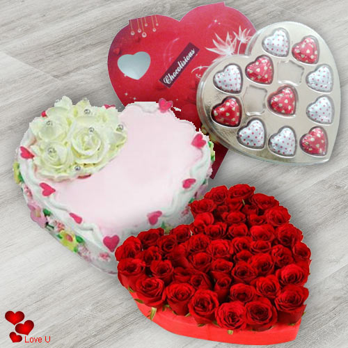 Rose Day Gift of Red Roses Cake N Chocolates