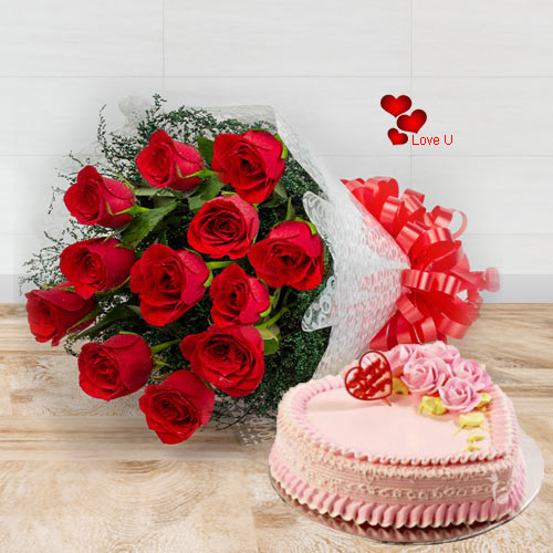 Shop Online for Rose Bouquet N Heart Shape Cake Combo