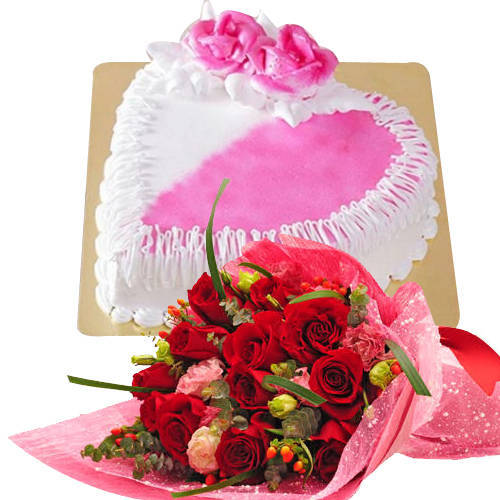 Buy Online Red Roses Bouquet with Heart Shaped Cake