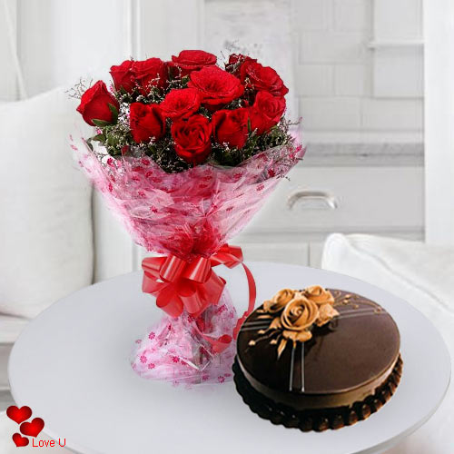 Buy Red Roses Bouquet N Cake Online
