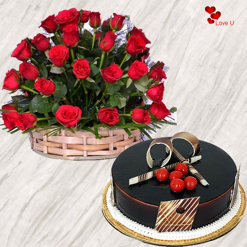 Valentines Day Special Rose Basket N Chocolate Cake