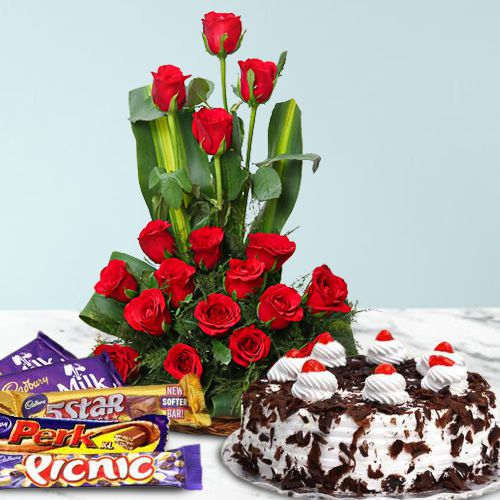 V-Day Combo of Cadbury Celebration with Red Roses N Cake
