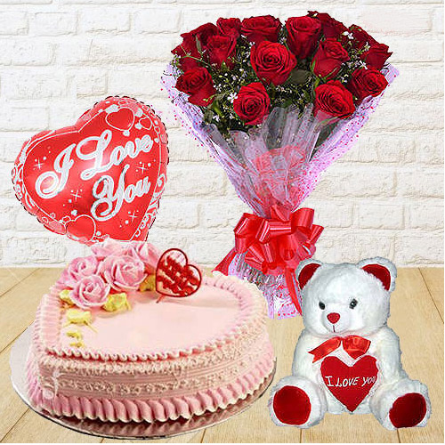 Bright 12 Dutch Red Roses Bunch with Teddy Bear, 1 Lb Love Cake and Heart Shaped Balloons