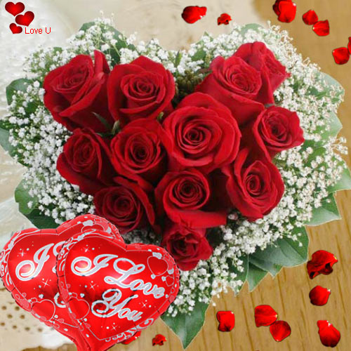 Deliver Online Red Roses in Hear Shape Arrangement with Balloons