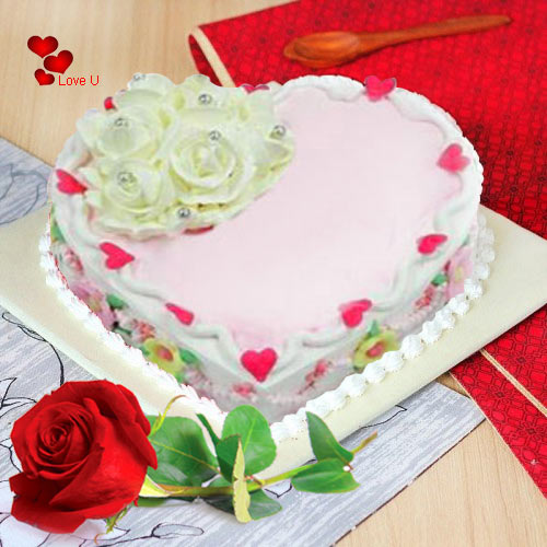 Deliver Love Cake N Single Red Rose for Rose Day
