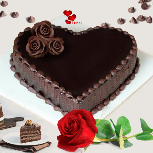 Online Combo of Red Roses N Black Forest Cake for Rose Day