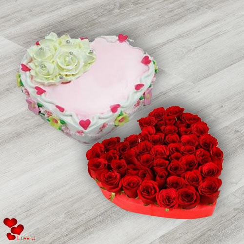 Buy Rose Day Gift of Heart Shape Red Roses N Love Cake Online