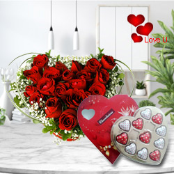 12 Dutch Red Roses in Heart Shape Arrangement and Heart Shaped Delicious Chocolate Box
