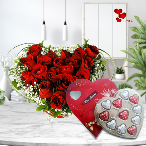 Rose Day Arrangement of Red Roses  in Heart Shape with Chocolate Box