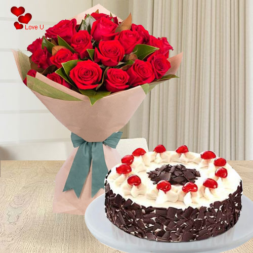 Send Online Rose Day Surprise of Red Roses Bouquet with 5 Star Bakery Cake