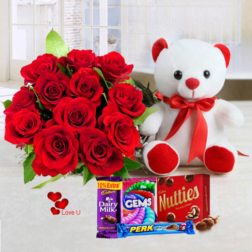 Order Red Roses, Teddy N Chocolates for Chcocolate Day