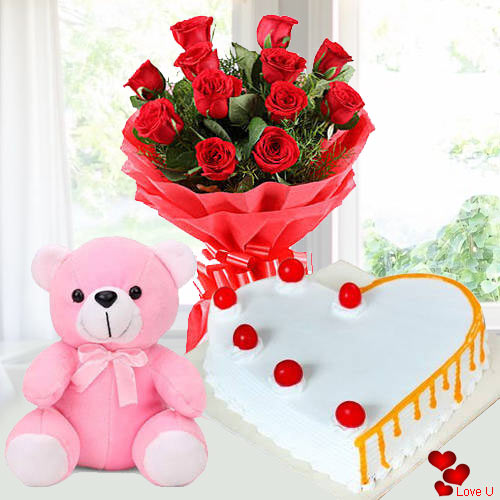 Buy Red Roses with Teddy N Cake Online