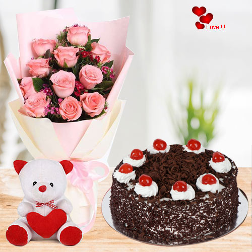 Shop for Pink Roses with Teddy N Cake for Rose Day
