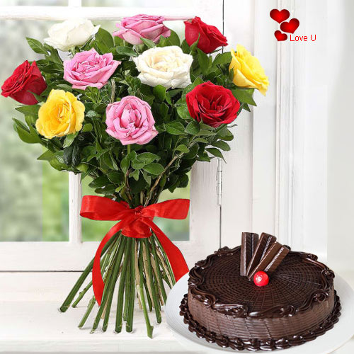 Book Online 12 Mixed Roses Bunch N Cake for V-Day