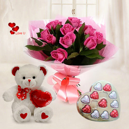 Chocolate Day Gift of Chocolates, Pink Roses Bouquet N Teddy