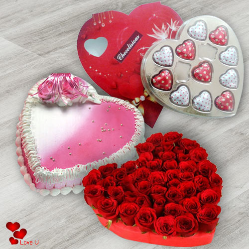 Deliver Heart Shape Red Rose with Chocolates N Cake Online