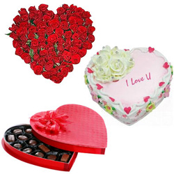 Adorable 24 Red Roses with 1/2 Kg Heart Shaped Cake and Heart Shaped Chocolate Box