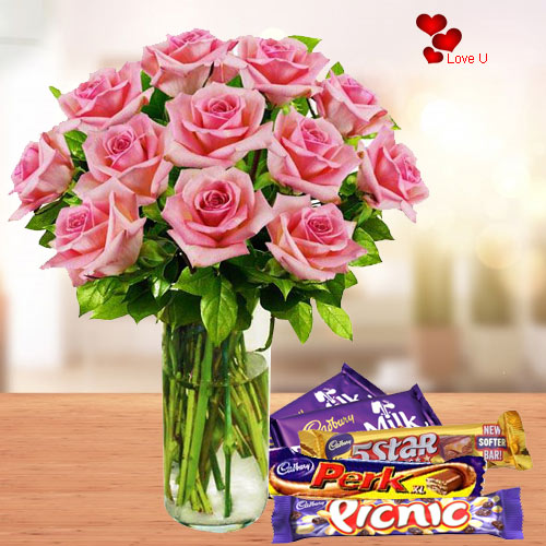 Chocolate Day Gift of Assorted Chocolates with Pink Roses