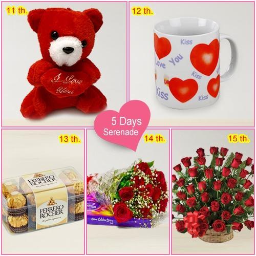 Send Online 5 Day Serenade Gift for Miss Valentine