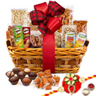 Spell-Binding Ambrosia Dry Fruits Assortment with One Rakhi and Roli Tilak Chawal
